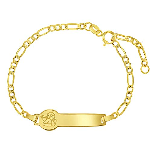 14k Yellow Gold Unisex Adjustable Little Angel Identification Tag Figaro Chain Bracelet - Fun Fashionable Rectangular Name Plate Bracelets for Babies & Children - Small ID Tags for Toddlers
