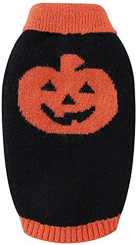 KILUS Suéter de perro de Halloween, calabaza de punto otoño e invierno cálido cachorro ropa, Negro, L