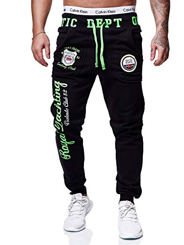 OneRedox Herren Jogginghose Sporthose Männer Trainingshose Sweatpants 601 Schwarz-grün S
