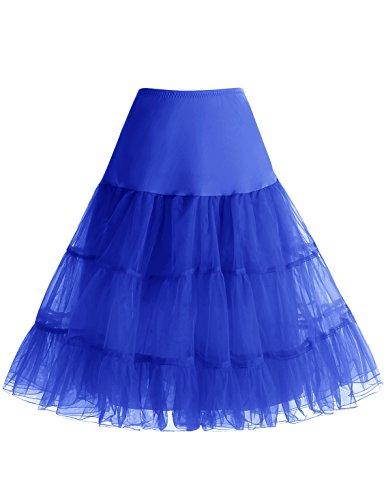 Bbonlinedress - Falda para mujer de 50 años, estilo vintage, tutú, crinolina, 25 pulgadas, Azul Royal, M