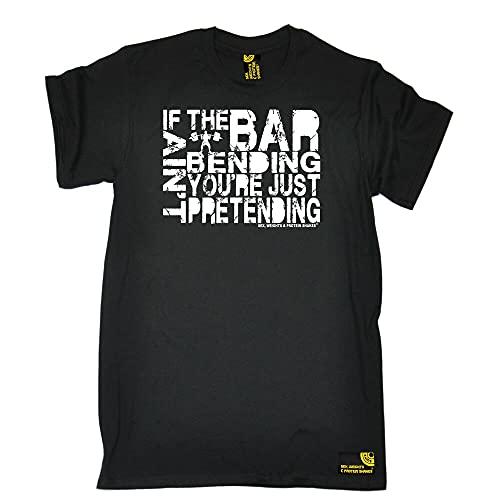 chuangda If The Bar Aint Bending Youre Just Pretending T-Shirt Training Gym Birthday Gift Men Black XXL