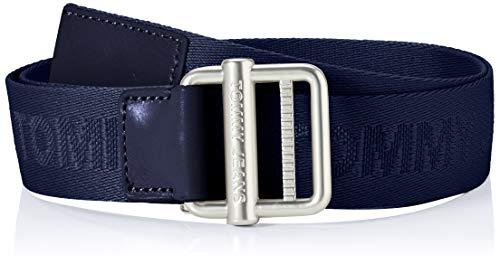 Tommy Jeans Tjm Essential Webbing Belt 3.5 Cintura, Blu Crepuscolo, 110 cm Uomo