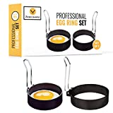 JORDIGAMO Professional Egg Ring Set For Frying Or Shaping Eggs - Round Egg Cooker Rings For Cooking...