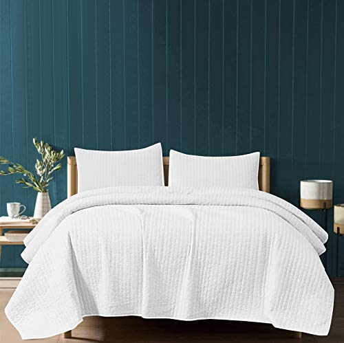 SHALALA NEW YORK Reversible Quilt Set - 2 Quilted Pillow Shams and a Soft Cotton Jersey Coverlet - Cotton Fill-Lightweight and Breathable - Machine Washable (White New, King)