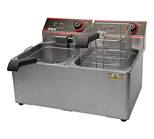 Winco EFT-32 Electric Deep Fryer, 1800W, 120V, 60Hz, Twin Well, 32 lbs. Oil Capacity