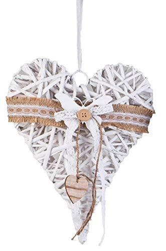 dekojohnson Fensterdeko zum aufhängen Rattan-Herz Fensterdekoration Türkranz Landhausstil Weiß 25cm Groß Schmetterling