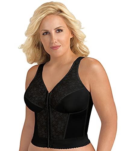 Exquisite Form Women's Plus Size Fully Front Close Longline Lace Posture Bra, Black, 38DD