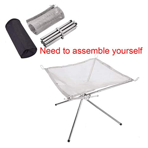 Generic Brands Portable Outdoor Folding Rack Stainless Steel Mesh Firepit for Barbecue Camping Bbq Accessories Gifts