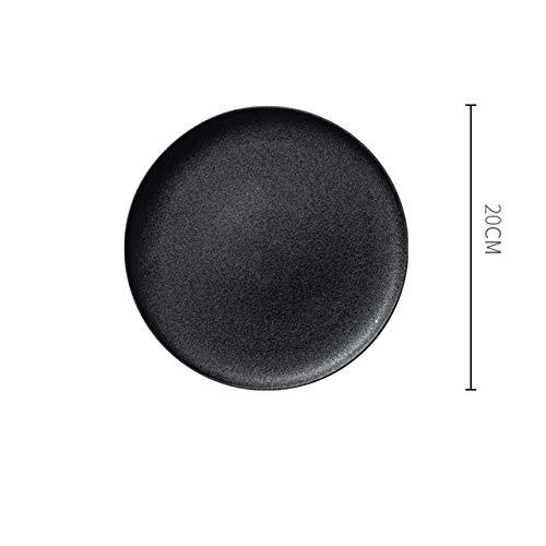 Service de Table Porcelaine Céramique sérigraphié noir Plate Creative Accueil Rond Carré Petit-déjeuner Plate restaurant Party Mode Simple Art de la table (Color : A)