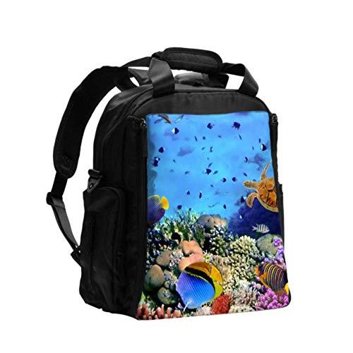 Ausgefallene Wickeltasche Rucksack Schöne Unterwasser-Weltlebenstasche für Männer Multifunktions-Reiserucksack mit Wickelunterlage für die Babypflege