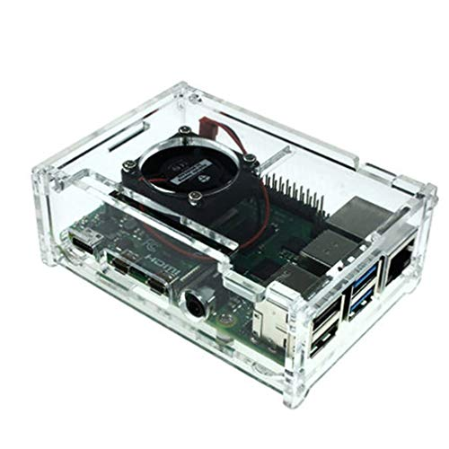 CandyTT para Raspberry Pi 4 Modelo B Carcasa Material ABS Ventilador Opcional Color clásico Estuche para Raspberry Pi 4 Modelo B Acrílico Transparente (Transparente sin Ventilador)