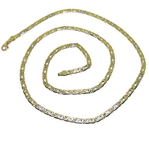 Collana da uomo in oro giallo 18 carati, 4 mm di larghezza e 60 cm di lunghezza, chiusura a moschettone, 17,25 g di oro 18 k