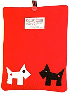 Designer Red Harris Tweed Scottie Dog And Westie iPad Tablet Cover