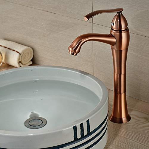 RYWDBF Massiv Messing Bad Wasserhahn Antik Kupfer Gefäß Waschbecken Mischbatterie Teekanne Einhand-Mischbatterie