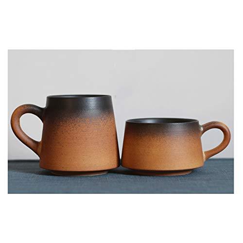 XIAOSAKU Taza de té Retro cerámica Taza de té Personalidad Pareja Helada Taza de café Taza Creativa Simple con Cuchara de Tapa Taza de Consumo de Alta Temperatura Taza de café (Color : D)