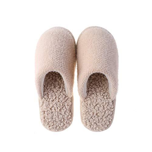 WNxiaobaozi Zapatillas De Casa Mujer Invierno Caliente Zapatillas De Felpa Color Sólido Slip-On Lovers Home Floor Zapatos Antideslizantes Cómodas Damas Zapatilla Interior, Albaricoque,39/40