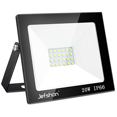 Jefshon 20W LED Projecteur Luminaires Extérieur, Blanc Froid 6500K Imperméable IP66, LED Projecteur Exterieur de Sécurité Idéal pour éclairage public, garage, couloir, jardin[Classe énergétique A++]