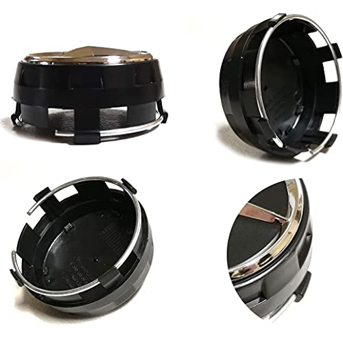 ITB Juego de Tapacubos 4X 75 mm Tapas de Repuesto Elevadas Negras Compatibles con Pernos de Rueda de Aleación - Clase A B C E CLK GL M ML SLK