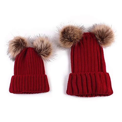 Sombreros de la familia Madre y bebé Invierno Cálido Tejido Crochet Pompones Gorro de gorro Mamá y yo Sombreros a juego (Color : Wine Red, Size : One Size)