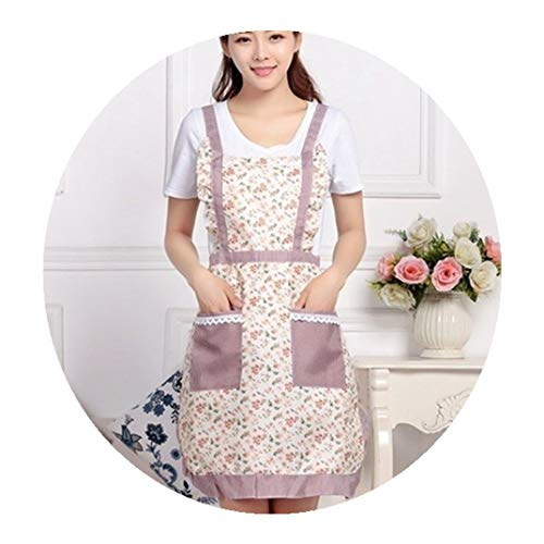 ALXY Waterproof Cooking Apron Printing Princess Apron Dress Thicken Women Bib with Pockets Ladies Pinafore Home Cleaning Overalls Florist Coffee Shop Working Apron Nail Shop Apron