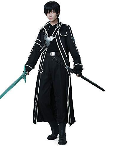 miccostumes Men's Kirito Cosplay Costume Small Black