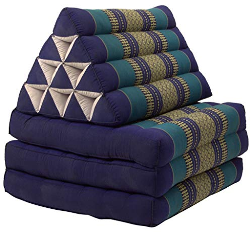 Fine Asianliving Thaikissen Dreieckskissen 3 Auflagen Kapokfüllung Ocean Blue Thai Kissen Meditation Matte Matratze Kapok 301-A07