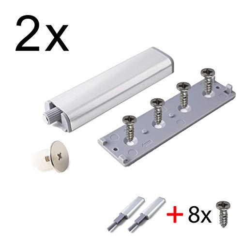 2x Profi Drucktüröffner mit magnetischer Zuhaltung KOMPLETT SET inkl. Schrauben - Push to Open - Magnet Türschnapper Magnetschnapper Schrank-Türöffner Möbel-Schnapper - MIND CARE ESSENTIALS