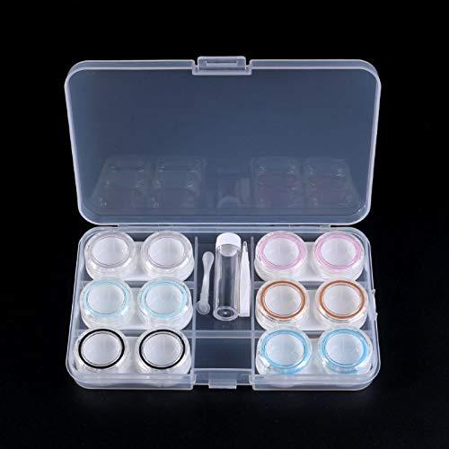 PPuujia Contacto lente caso nuevo 1 Unidades Unisex Contacto lente caso caja 6 cajas simple transparente almacenamiento portátil cuidado ojos kit organizador contenedor
