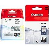 Canon PG-510 + CL-511 Cartuchos de Tinta BK + Tricolor para Impresora de Inyeccion de Tinta Pixma + PG-512XL Cartucho de Tinta Original Negro XL para Impresora de Inyeccion de Tinta Pixma