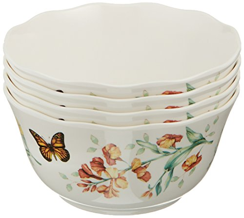 LENOX 856406 Butterfly Meadow Melamine 4-Piece Bowl Set, 1.3 LB, White