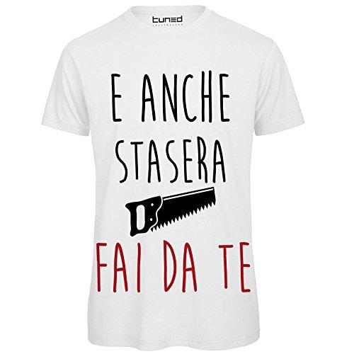 CHEMAGLIETTE! T-Shirt Divertente Uomo Maglietta con Stampa Frase Ironica Stasera Fai da Te Tuned, Colore: Bianco, Taglia: S