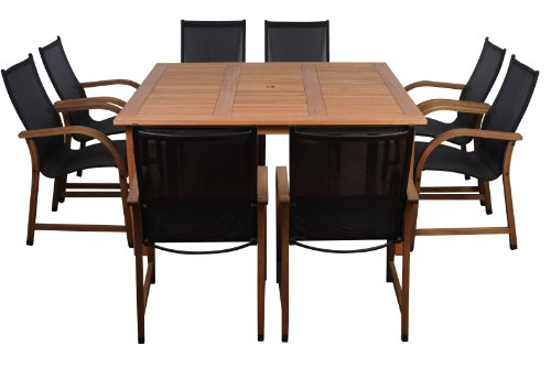 Amazonia Bahamas 9 Piece Square Patio Dining Set | Eucalyptus Wood | Ideal for Outdoors and Indoors, Black