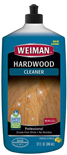 Weiman Hardwood Floor Cleaner - 32 Ounce - Non-toxic for Finished Hardwood Oak Maple Cherry Birch Engineered - Professional Safe Streak-free - Packaging May Vary
