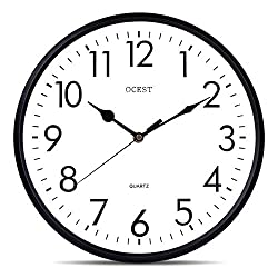 OCEST 13 Inch Silent Quartz Decorative Wall Clock, Non-Ticking Indoor Outdoor Clock Large Display Battery Operated 3D Round Easy to Read Home Kitchen Living Room Bathroom Office Classroom School Clock