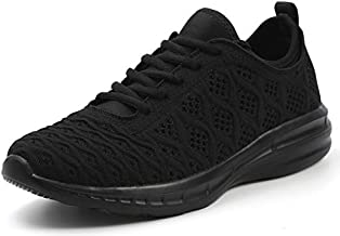 Joomra Women Gym Shoes All Black Knit Comfy Teacher Spring Running Walking Sports for Ladies Lightweight Sport Fashion Tennis Sneakers Size 7