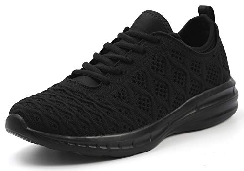 JOOMRA Women Running Shoes Breathable Gym Workout Jogging Walking Knit Summer Female Sport Athletic Fashion Tennis Sneakers All Black Size 9