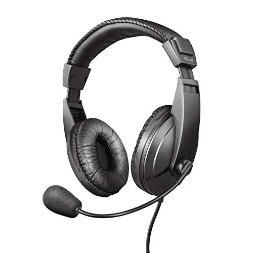 Trust Quasar - Auriculares con micrófono para PC, Color Negr