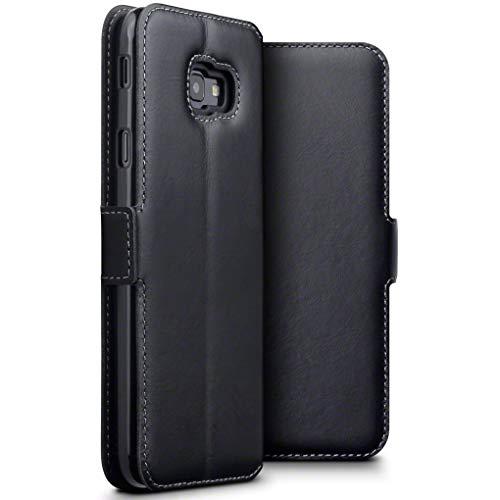 TERRAPIN, Kompatibel mit Samsung Galaxy J4 Plus 2018 Hülle, Premium ECHT Spaltleder - Slim Fit - Flip Handyhülle Samsung Galaxy J4 Plus 2018 Tasche Schutzhülle - Schwarz