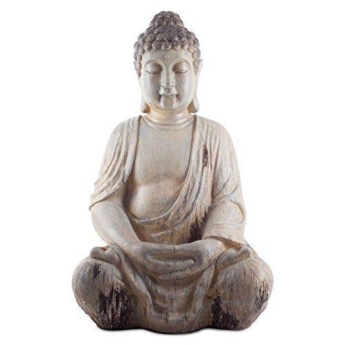 Grande 50 cm sentado de resina efecto madera Buda figura decorativa para jardín o Home: Amazon.es: Hogar