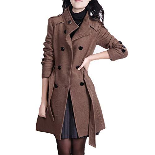 HDUFGJ Damen stylischer Herbst Winter ReversWindjacke Knopf-Jacken-Mantel mit Gurt um Coat Herbst Fleece Boucle Pullover Jumper Softshell Outdoor Jacke Übergangs4XL(Kaffee)