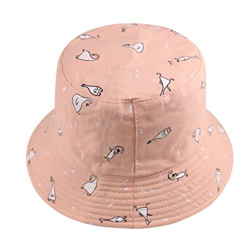 MTBDLYQ Chapeau De Pêcheur Femme,Unisex Fisherman Hat Fashion Foldable Animal Duck Imprimé Pink Bucket Cap, for Men Women Travel Randonnée Casual Hat Adult Flat Sun Hat