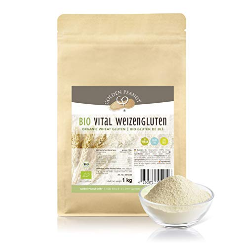 Bio Vital Weizengluten 1 kg natürliches Verdickungsmittel | Veganes Weizeneiweiß| Speisestärke | Backen und Kochen | Golden Peanut