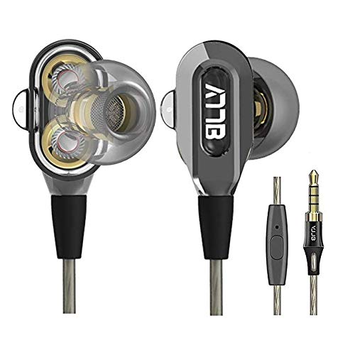 GranVela VJJB V1S High Definition Dual Dynamic Driver in-Ear Headphones with Mic and High Tensile Cable, Noise-Isolating Earphones