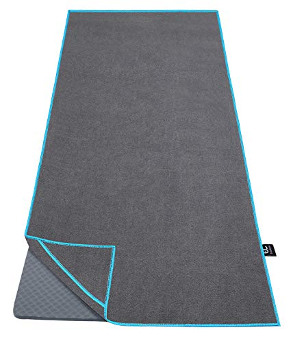 """Ewedoos Yoga Towel with Anchor Fit Corners, 100% Microfiber Non Slip Yoga Towel, Super Soft, Sweat Absorbent, Ideal for Hot Yoga, Pilates and Workout (Blue Trim,68"""")"""