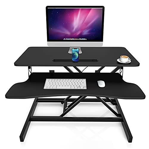Novhome Stehpult Sitz Steh Computertisch Höhenverstellbar 80cm Schreibtisch Standing Desk Schreibtischaufsatz Doppelmonitor-Riser Computertisch (80x40cm, Schwarz)