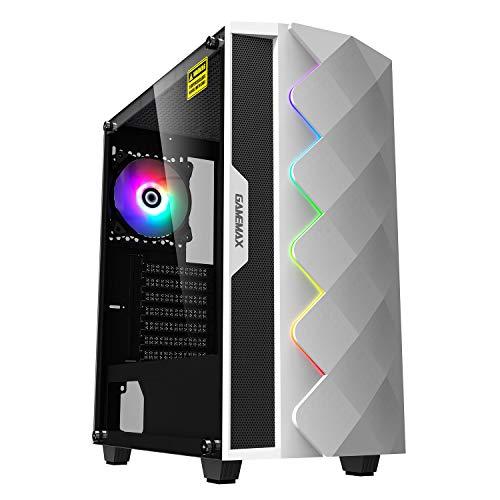 GameMax White Diamond ARGB - Estuche para juegos de PC de torre media, ATX, 3 pines AURA macho y hembra, tira LED ARGB integrada, ventilador ARGB de 120 mm incluido, listo para enfriar el agua
