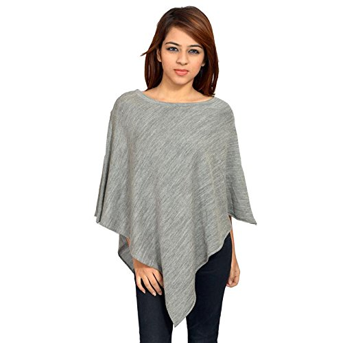 513 Women's Light Grey Free Size Acrylic Solid Ponchu