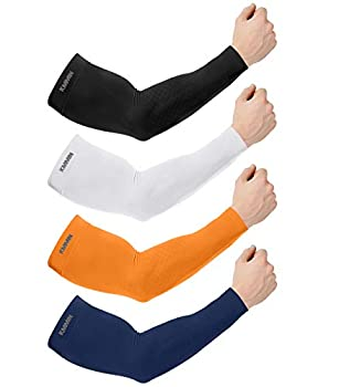 KMMIN Arm Sleeves UV Protection for Driving Cycling Golf Basketball Warmer Cooling UPF 50 Sunblock Protective Gloves for Men Women Adults Covering Tattoos Black/White/Orange/Navy