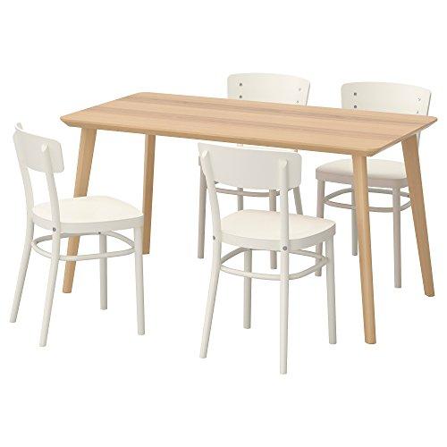 ZigZag Trading Ltd IKEA LISABO/IDOLF - Mesa 4 sillas chapa de ceniza/blanco