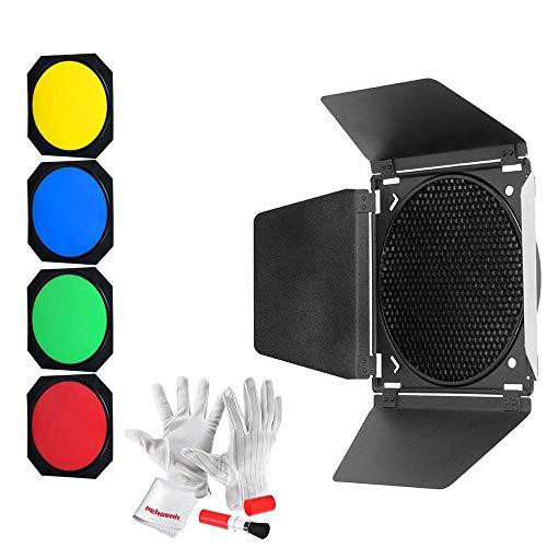 Godox BD-04 Barndoor & Wabengitter & 4 Farb-Gel-Filter, kompatibel für 7-Zoll-Standardreflektoren LED-Videoleuchte Wie SL60W SL150WII SL200WII SL150W SL200W